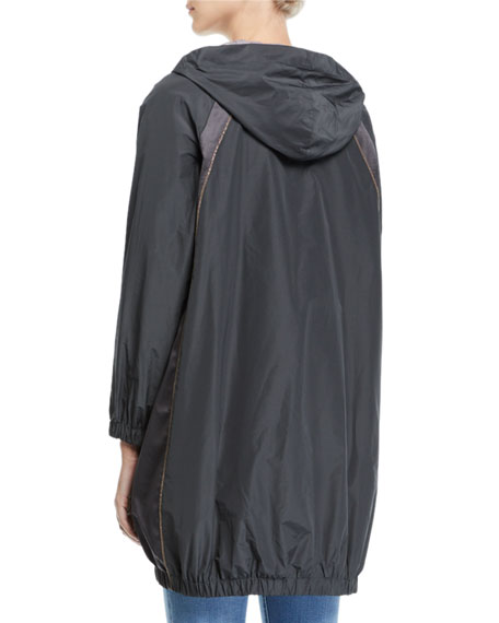 Monili-Trim Long Taffeta Zip-Front Hooded Jacket