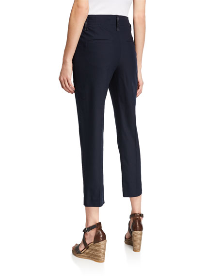 Monili Beaded Cotton Twill Cropped Pants