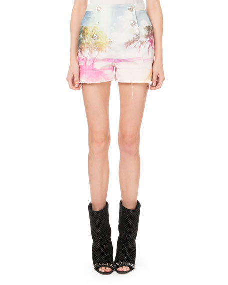 High-Waist 6-Button Palm-Print Shorts