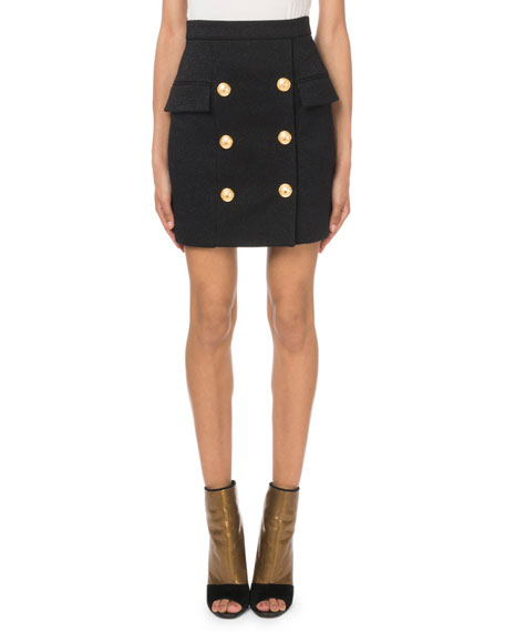 Balmain Glitter Crepe Six-Button Mini Skirt