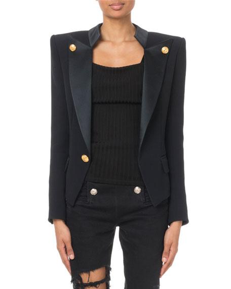 Balmain Golden-Button Open-Front Smoking Jacket