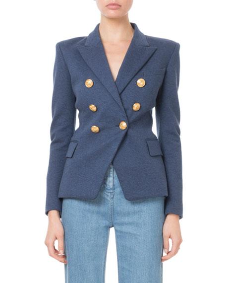 Balmain Double-Breasted Golden-Button Classic Jersey Blazer