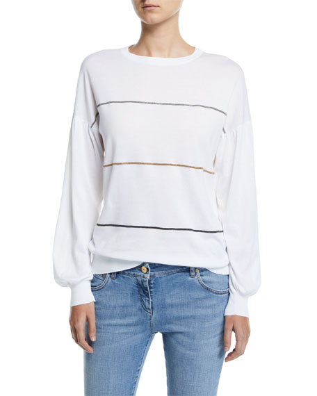 Brunello Cucinelli Monili-Striped Balloon-Sleeve Sweater