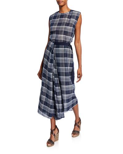 Plaid Sleeveless Long Dress w/ Grosgrain Belt