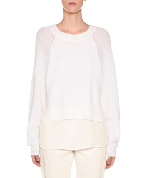 Crewneck Wool Sweater with Crepe de Chine Slip