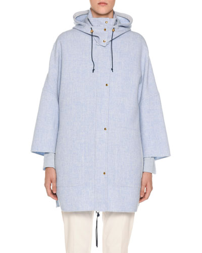 Wool-Cashmere Caped Parka Jacket