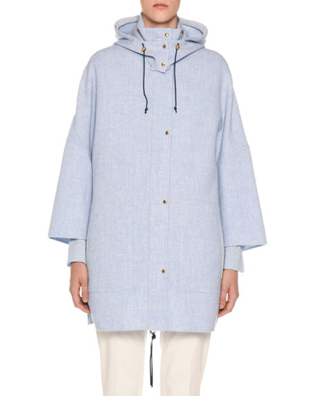 Agnona Wool-Cashmere Caped Parka Jacket