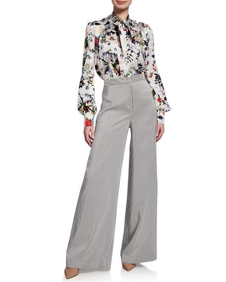 Erdem Birte High-Waist Floral Jersey Full-Leg Pants