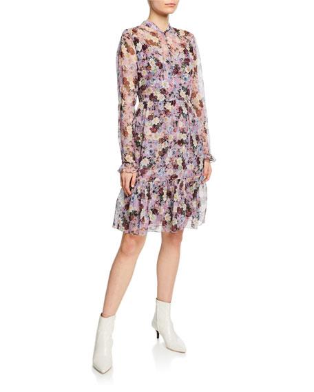 Erdem Danielle Floral-Print Button-Front Dress