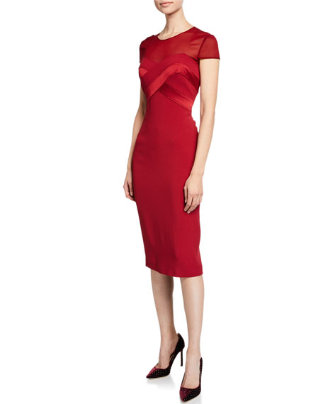 bec0530709 Maxmara Sweetheart Illusion Short-Sleeve Cocktail Dress