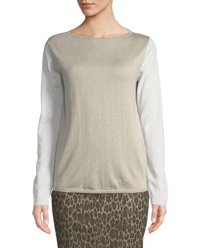 Colorblock Silk-Cashmere Sweater