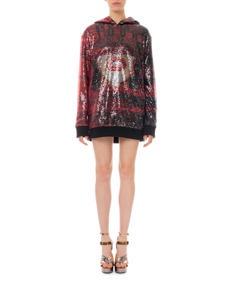 Sequined World Tour Hoodie Mini Dress