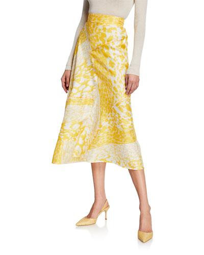 ba0dfda736dd High-Waist A-Line Leopard-Print Silk Midi Skirt
