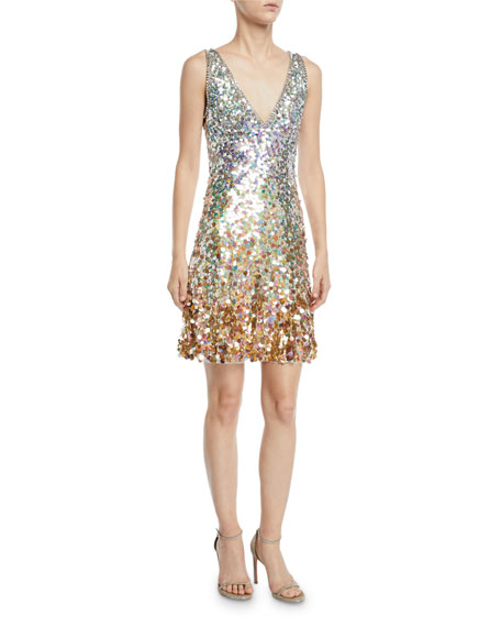 Jenny Packham SLEEVELESS V-NECK OMBRE SEQUIN DRESS