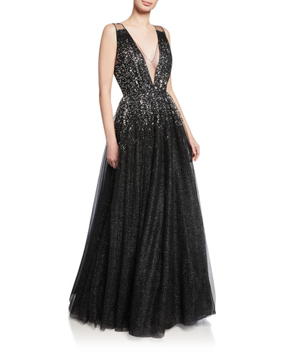 Samar Beaded V-Neck Ball Gown