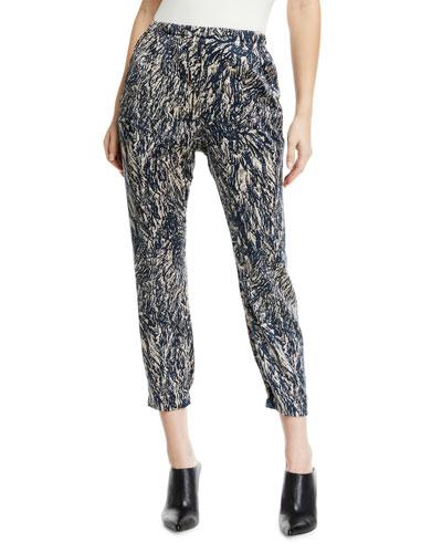 Gabi Mid-Rise Hair-Print Cropped Silk Trousers