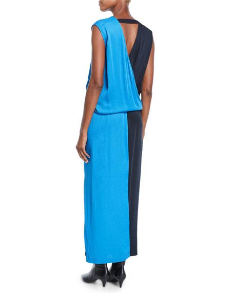 Jazmin Two-Tone Eco Drape Sleeveless Midi Dress