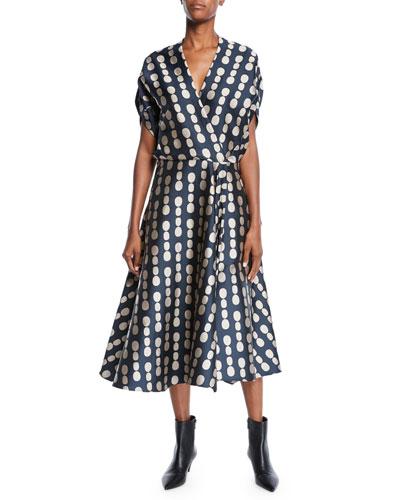 Aki-Wave Pearl-Jacquard Dress