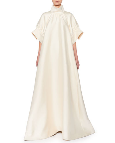 Alba Mock-Neck Silk Trapeze Gown