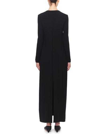 White Wool Long Sleeves Maxi Dresses