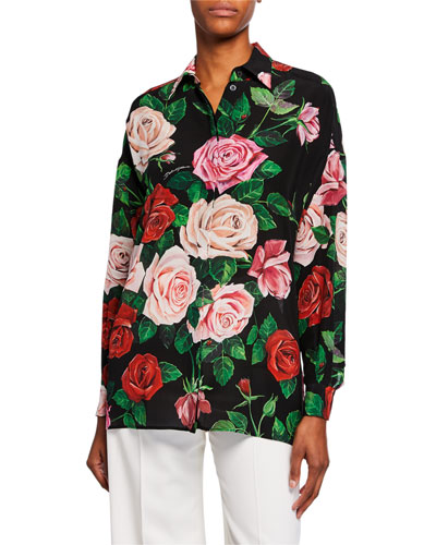 Long-Sleeve Floral Crepe de Chine Tunic Quick Look. Dolce   Gabbana d6d6e72d2
