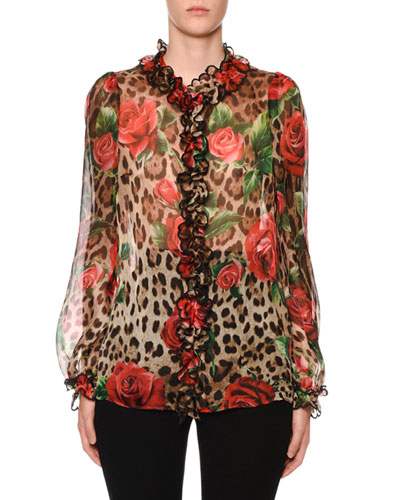 Leopard & Rose Organza Button-Front Blouse