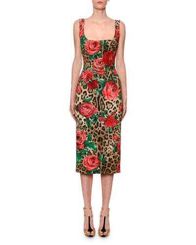 Sleeveless Square-Neck Leopard & Rose Cady Pencil Dress