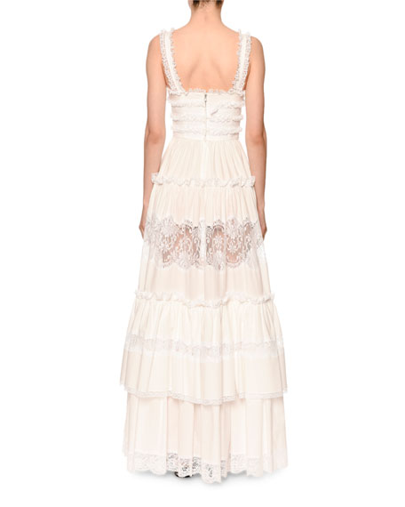 Sleeveless Tiered Lace-Trim V-Neck Gown