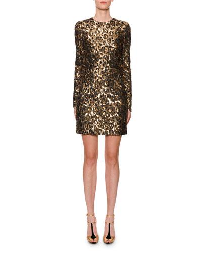 Long-Sleeve Leopard-Print Sequined Mini Dress