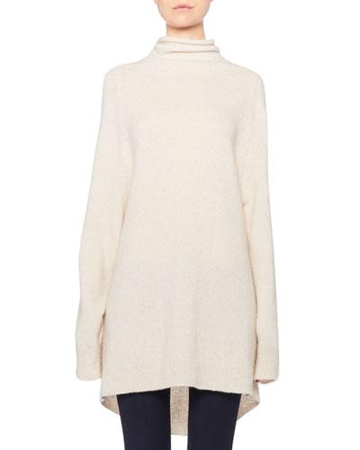 Mandel Cashmere Oversized Turtleneck Sweater
