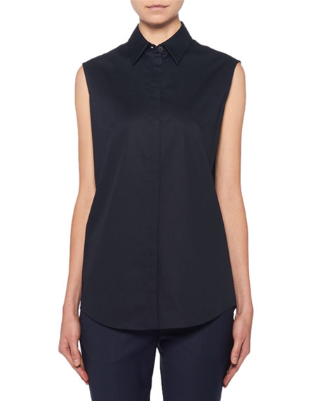 THE ROW Mirabal Sleeveless Poplin Button-Front Blouse