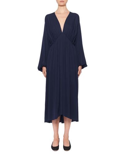Sasha V-Neck Ruched Stretch-Silk Midi Dress