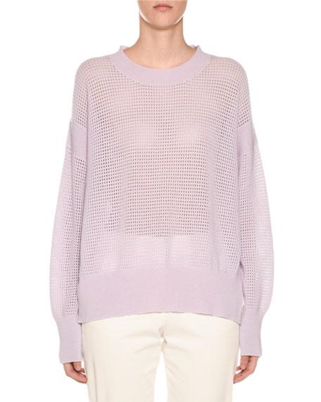 Agnona Crewneck Cashmere Mesh Sweater