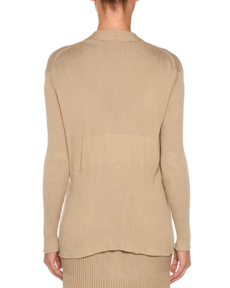 Cotton-Silk Ribbed Open-Front Cardigan