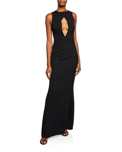 Sleeveless Plunging Keyhole Column Gown