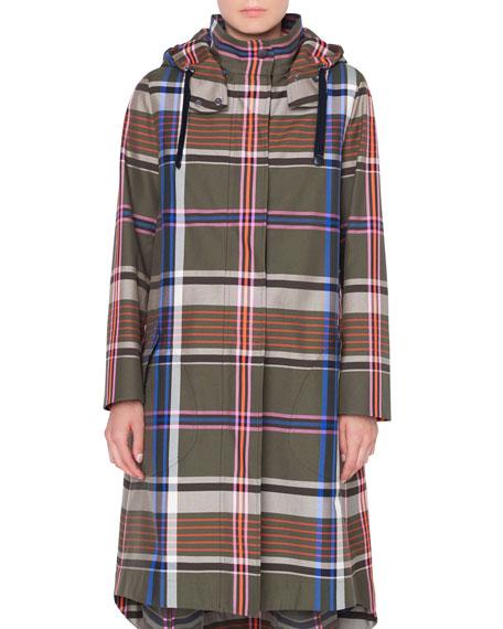 Long Plaid Cotton Parka Coat