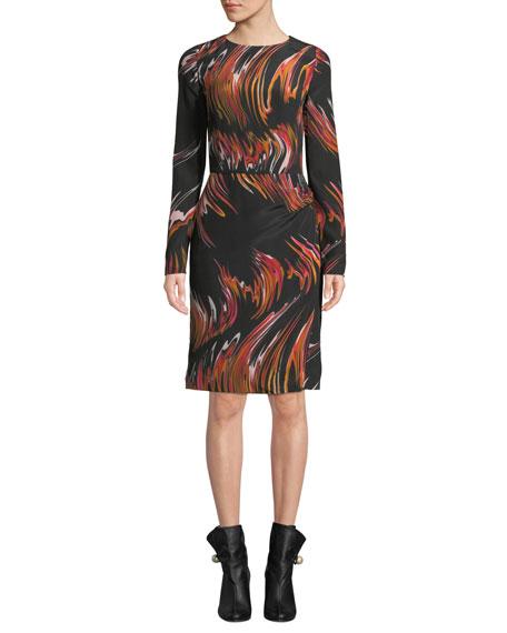 Givenchy Long-Sleeve Marble Sheath Dress