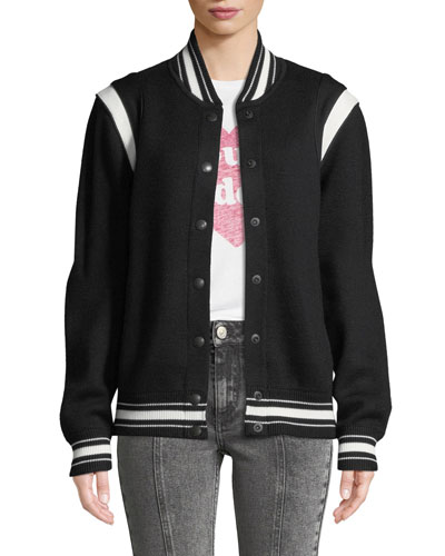 Logo-Back Wool Varsity Jacket