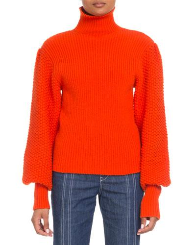 Wool-Cashmere Balloon-Sleeve Turtleneck Sweater