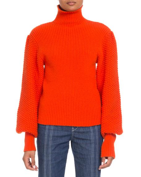 Chloe Wool-Cashmere Balloon-Sleeve Turtleneck Sweater