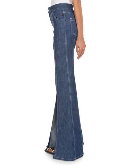 3d54a5a0c3 High-Waist Slit Flare-Leg Jeans