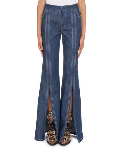 High-Waist Slit Flare-Leg Jeans
