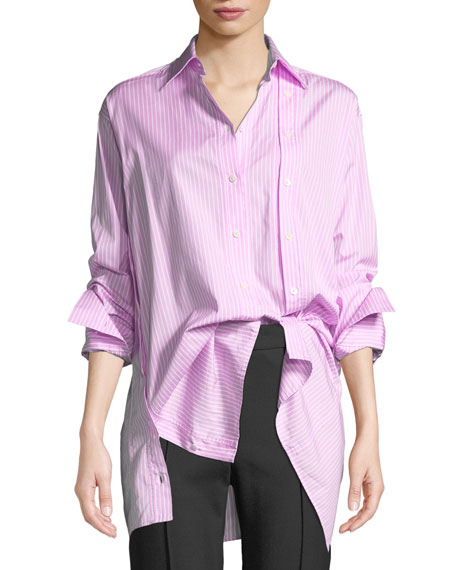 Rokh STRIPED BUTTON-FRONT SLASHED SHIRT