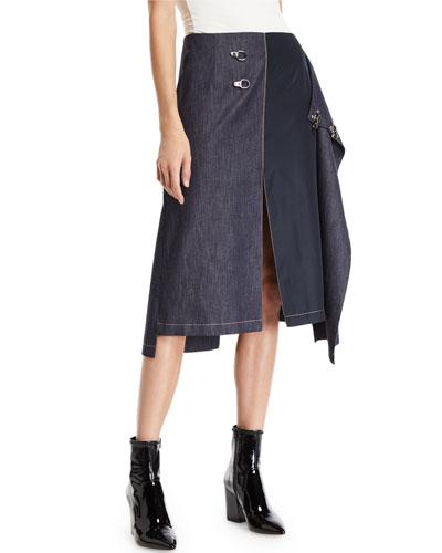 High-Rise Denim Skirt with Metal Fastenings