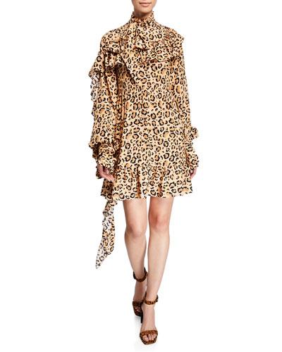 Leopard-Print Ruffled Crepe de Chine Dress