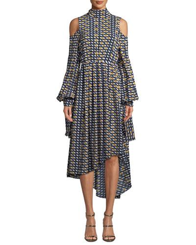 Cold-Shoulder High-Neck Asymmetric Dress
