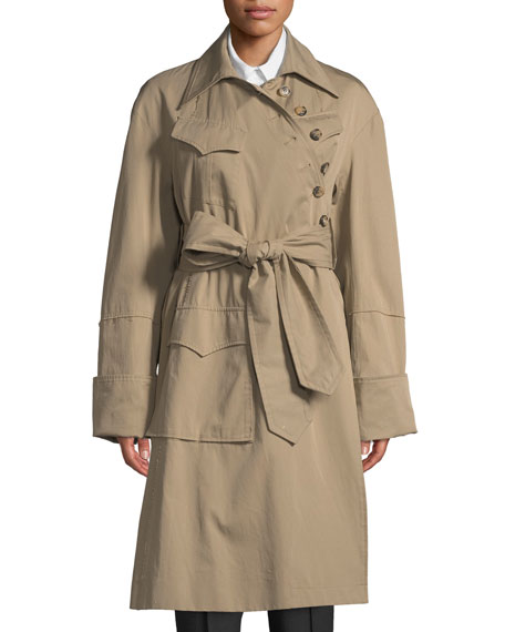 Rokh Asymmetric Button-Front Cotton Trench Coat
