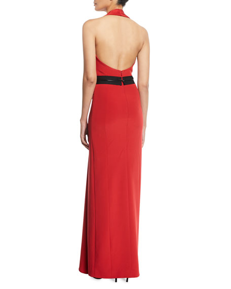 Bowed-Waist Halter Neck Gown