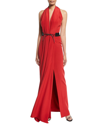 Bowed-Waist Halter Neck Gown