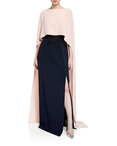 Two-Tone Cape Gown